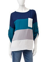 Wishful Park Color Block Chiffon Top
