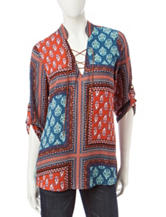 Wishful Park Patchwork Print Top