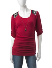 A. Byer Red & Black Lace Top