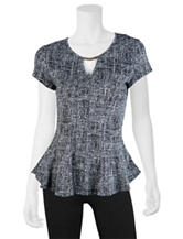 A. Byer Grey Peplum Top