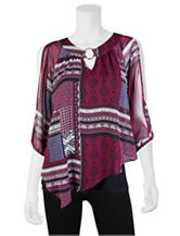 A. Byer Multicolor Tribal Asymmetrical Top