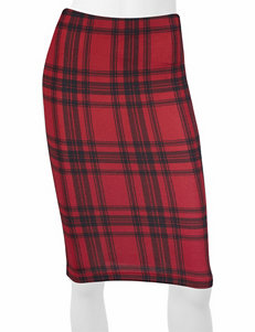 A. Byer Red & Black Plaid Pencil Skirt