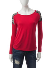 Wishful Park Red Lace Top