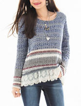 Jolt Navy Crochet Hem Knit Sweater