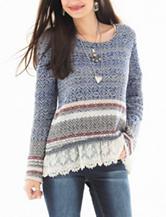 Jolt Navy Crochet Hem Knit Sweater