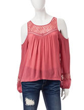 Jolt Lace Yoke Cold Shoulder Top