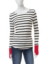 Wishful Park Black & White Striped Thumb Hole Top
