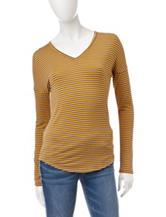 Wishful Park Grey & Yellow Striped Knit Top