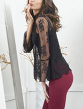 XOXO Black Floral Lace Top
