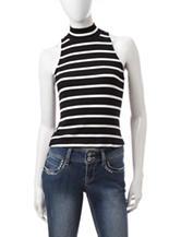 XOXO Black & White Striped Ribbed Top
