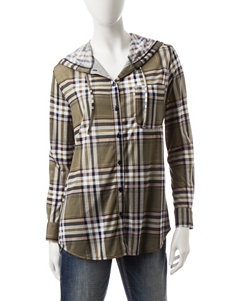 Wishful Park Multicolor Plaid Print Hooded Top
