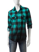 Wishful Park Teal & Black Ombre Plaid Top