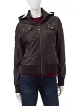 YMI Brown Pleather Hooded Moto Jacket