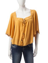 My Michelle Yellow Peasant Top