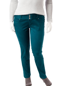 Amethyst Juniors-plus Teal High Waisted Jeans