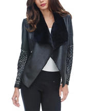XOXO Black Faux-Leather Studded Moto Jacket