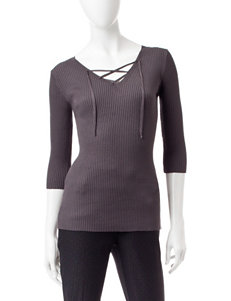 Union Bay Grey Ribbed Knit Top