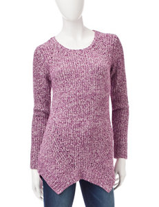 Kensie Purple Cable Knit Sweater