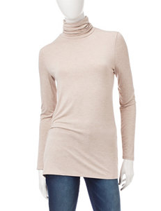 Kensie Taupe Turtle Neck Top