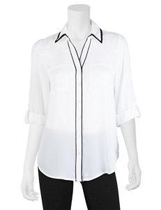 A. Byer Black & White Chiffon Top