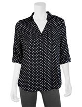 A. Byer Black & White Polka-Dot Print Top