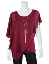 A. Byer Burgundy Chiffon Asymmetrical Top