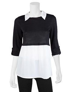 A. Byer Black & White Layered-Look Top