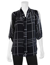 A. Byer Black & White Plaid Chiffon Top