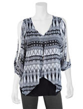 A. Byer Black & White Aztec Print Could Shoulder Top