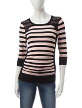 A. Byer Black & Pink Striped Sweater