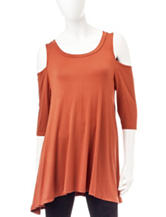 Wishful Park Cold Shoulder Tunic Top