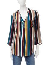 Heart Soul Multicolor Striped Pocket Chiffon Top