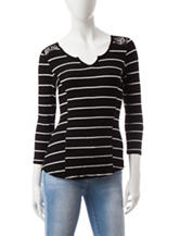 Almost Famous Black & White Striped Print Top