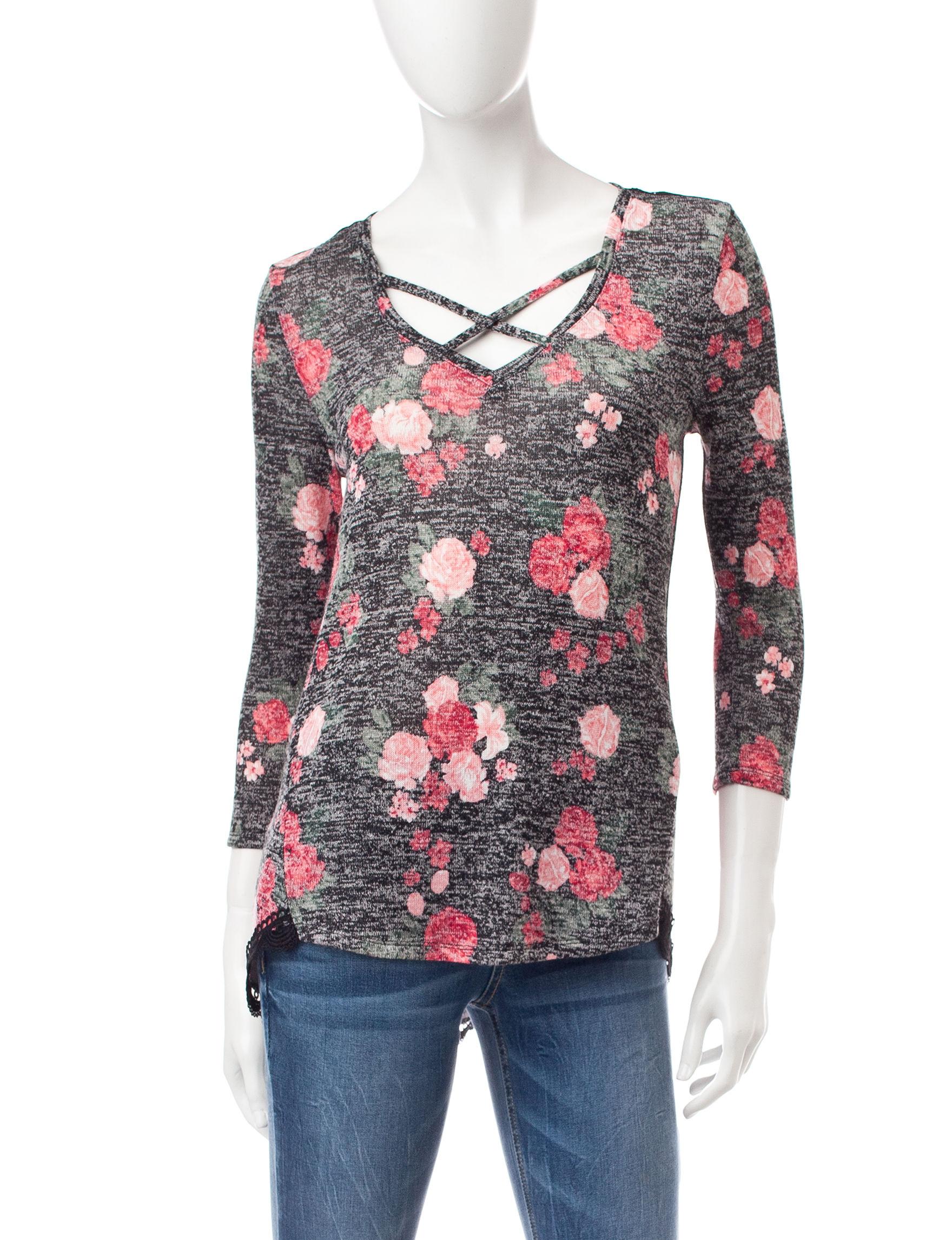 Almost Famous Black Floral Shirts & Blouses