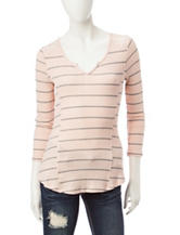 Almost Famous Pink & Grey Striped Top