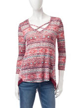 Almost Famous Multicolor Tribal Lace Sweater
