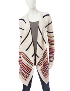 Pink Rose Multicolor Stripe Print Cardigan