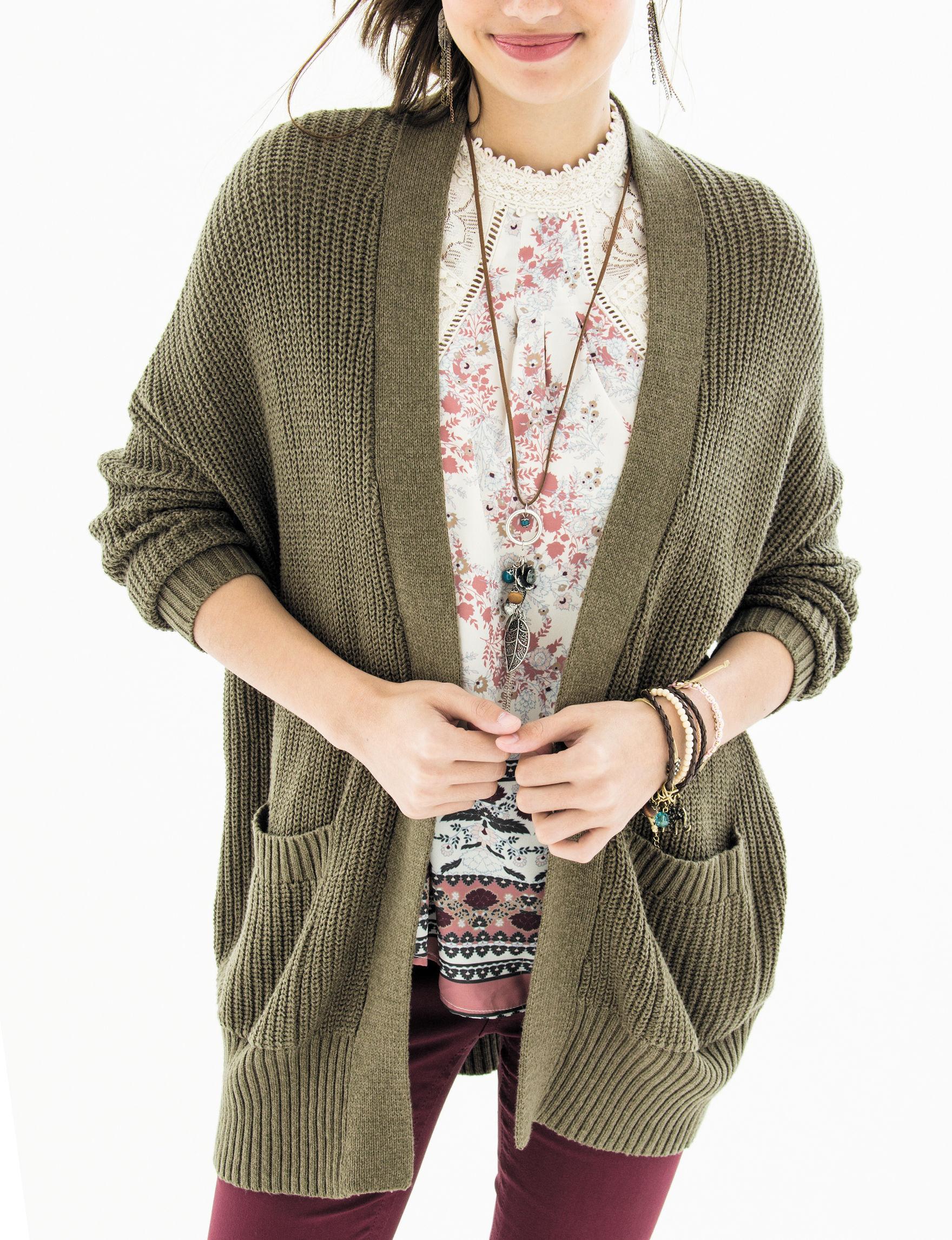 Ultra Flirt Olive Cardigans Sweaters
