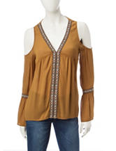 Jolt Mustard Cold Shoulder Aztec Top
