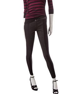 BeBop Grey & Black Color Block Skinny Pants