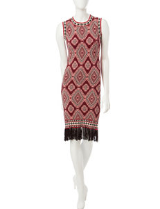 Romeo + Juliet Couture Multicolor Diamond Knit Tassel Dress