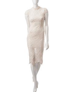 Romeo + Juliet Couture Ivory Crochet Sheath Dress