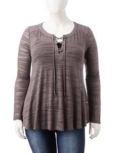Heart Soul Plus-size Grey Lace-up Top