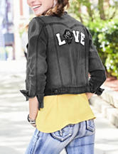 Vanilla Star Black Rose Love Denim Jacket