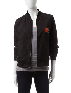 Justify Black Faux Satin Bomber Jacket