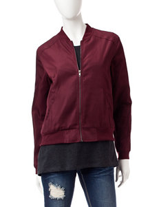 Justify Burgundy Faux Satin Bomber Jacket