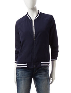 Justify Navy Faux Satin Bomber Jacket