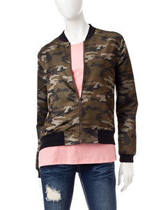 Justify Cam Print Faux Satin Bomber Jacket
