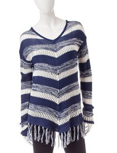 It's Our Time Blue & White Striped Print Top