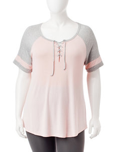 No Comment Plus-Size Pink & Grey Color Block Lace Up Top